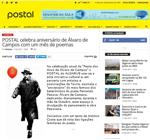 UM MÊS DE POESIA Postal do Algarve